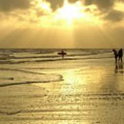 Enjoying The Beach At Sunset Poster
