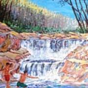 Enjoying Waterfall Poster