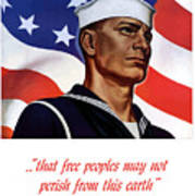 Enlist In Your Navy Today - Ww2 Poster