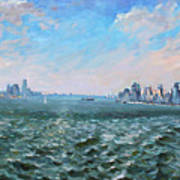 Entering In New York Harbor Poster