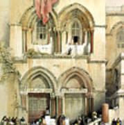 Entrance To Church Of The Holy Sepulchre Card Poster