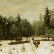 Entrance To The Forest In Winter Poster by Cherubino Pata