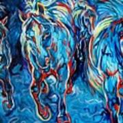 Equine Abstract Blue Four By M Baldwin Poster