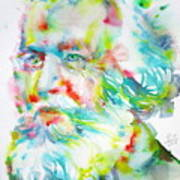 Ernst Haeckel - Watercolor Portrait Poster