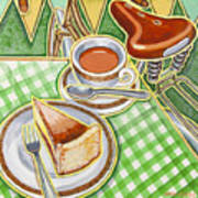 Eroica Britannia Bakewell Pudding And Cup Of Tea On Green Poster