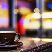 Espresso Coffee Cup In Cafe At Night Poster