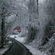 Esso Barn In Winter Poster