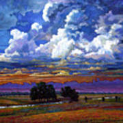 Evening Clouds Over The Prairie Poster