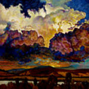 Evening Clouds Over The Valley Poster
