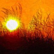 Evening Dunes Impasto Poster