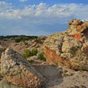 Evening Light On Boulders Of Bentonite Site Poster