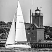 Evening Sail At Holland Light - Bw Poster