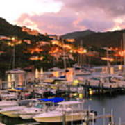 Evening Twilight At Oyster Pond, St. Martin Poster