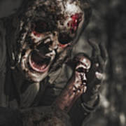 Evil Male Zombie Screaming Out In Bloody Fear Poster