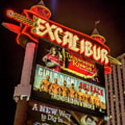 Excalibur Casino Sign Night Poster