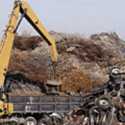 Excavator Moving Scrap Metal With Electro Magnet Poster
