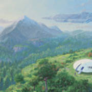 Exploring New Landscape Spaceship Poster