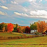 Expressionalism Autumn Farm Poster