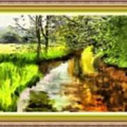 Expressionist Riverside Scene L B With Alt. Decorative Printed Frame.  Poster