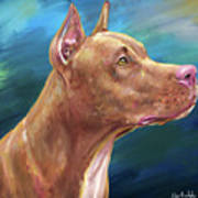 Expressive Painting Of A Red Nose Pit Bull On Blue Background Poster