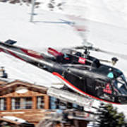 F-gsdg Eurocopter As350 Helicopter Courchevel Poster