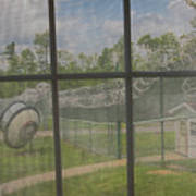 Prison Yard With Razor Wire, Guard House And Satellite Dish Poster