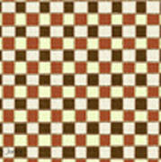 Fabric Design Mushroom Checkerboard Abstract #2 Poster