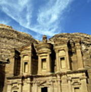 Facade Of Ad Deir An Ancient Rock-cut Monastery In Petra Poster