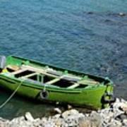 Faded Green Yellow Motor Power Boat Parked At Satpara Lake Pakistan Poster