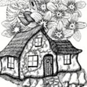 Fairy House, Bee, And Dogwood Poster