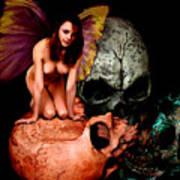 Fairy Lites On Skull Poster