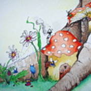 Fairy Mushrooms Poster
