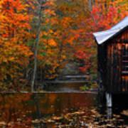 Fall Barn And River N Leverett Ma Poster