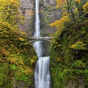 Fall Colors At Multnomah Falls Poster