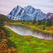 Fall In Mountains Landscape Oil Painting Poster