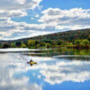 Fall Kayaking Reflection Landscape Poster