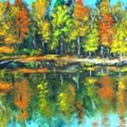 Fall Landscape Acrylic Painting Framed Poster