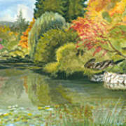Fall Reflections Butchart Gardens Poster by Vidyut Singhal