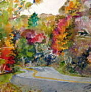Fall Road - Watercolor Poster