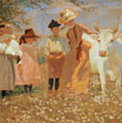 Family Group With Cow Poster