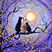Family Moon Gazing Night Poster