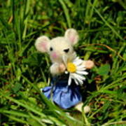 Family Mouse On The Spring Meadow Poster
