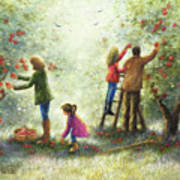 Family Picking Apples Poster