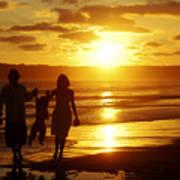 Family Walk On Beach Poster