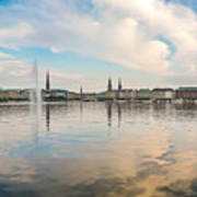 Famous Binnenalster In Hamburg Downtown At Sunset Poster