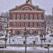 Faneuil Hall Snow Poster by Joann Vitali