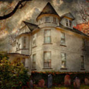 Fantasy - Haunted - The Caretakers House Poster by Mike Savad