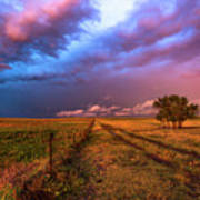 Far And Away - Open Prairie Under Colorful Sky In Oklahoma Panhandle Poster