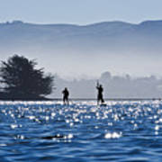Faraway Paddle Boarders In Morro Bay Poster by Bill Brennan - Printscapes