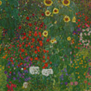 Farm Garden With Flowers Poster